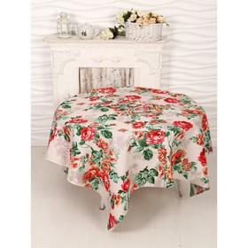 Набор Розалия красный скатерть 150х150 см + 6 салфеток рогожка, 160 г/м2, хлопок 100%