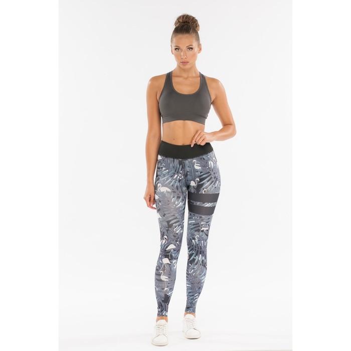 Легинсы женские спортивные, цвет серый/чёрный, размер 48-50 (L)
