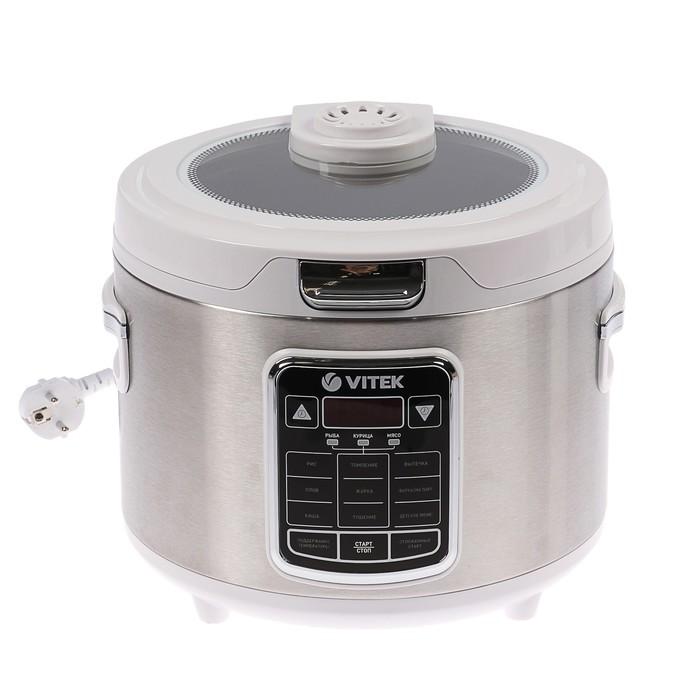 Мультиварка VITEK VT-4281, 800 Вт, 4 л, 9 программ, книга рецептов, дисплей, серебристая