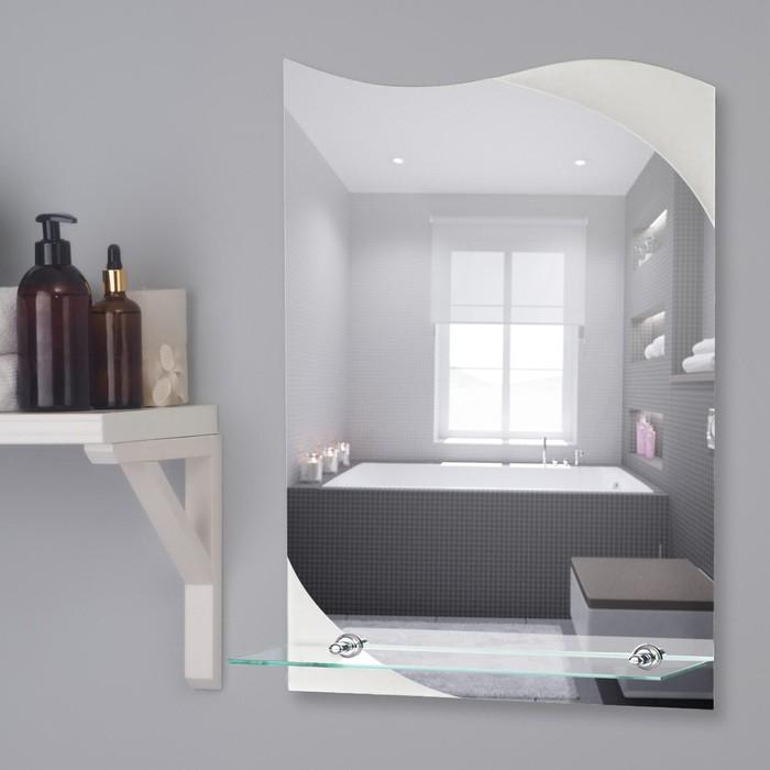 Зеркало, настенное, с пескоструйной графикой, с полочкой, 40×55 см