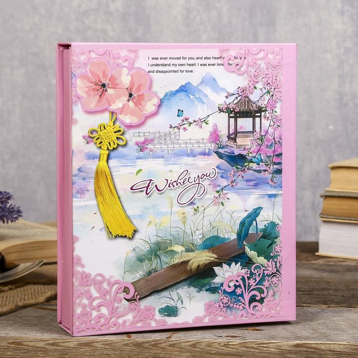 """Фотоальбом на 80 фото 10х15 см """"Сакура и бабочки"""" в коробке МИКС 23,5х19,5х5 см - фото 825586"""