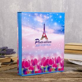 "Фотоальбом на 200 фото 13х18 см ""Эйфелева башня и цветы"" в коробке МИКС 29,5х23,5х5,5 см"