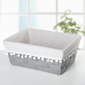 Корзина для хранения плетеная 33×27×13 см «Уют», цвет серый