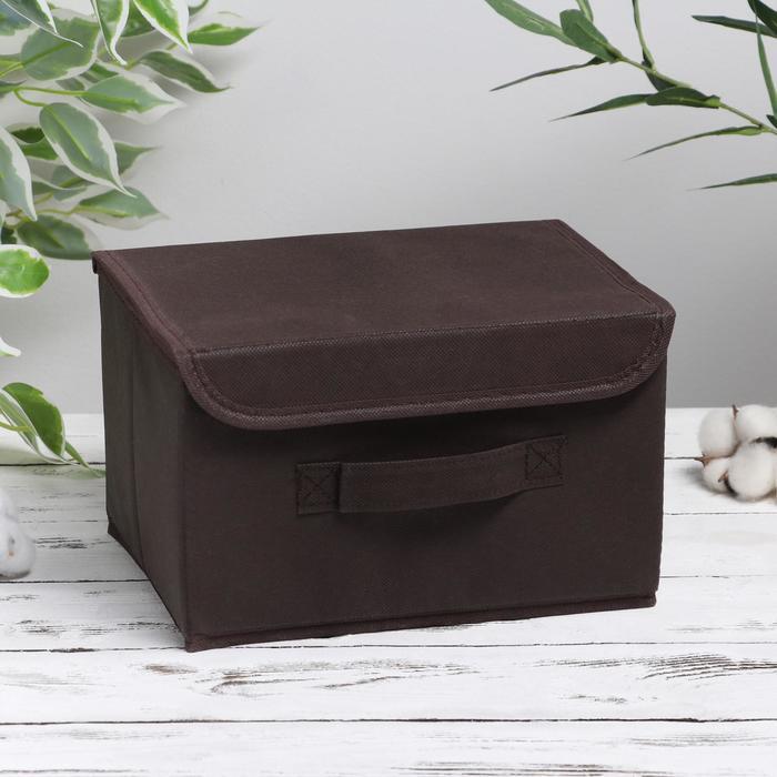 Короб для хранения с крышкой «Алва», 26×20×15 см, цвет коричневый - фото 308331759