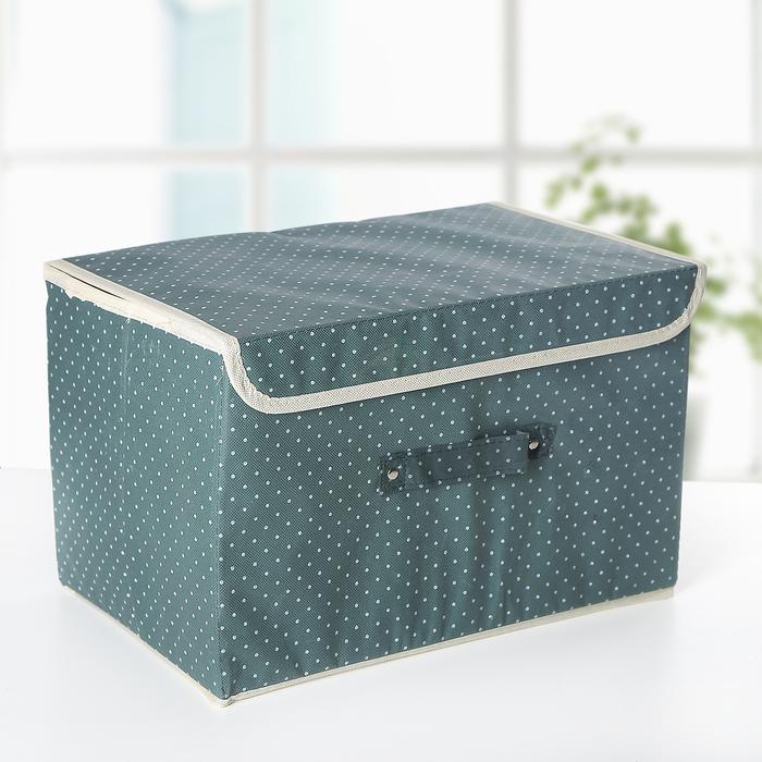 """Короб для хранения 37×24×24 см """"Горошек"""", цвет зелёный - фото 170116815"""
