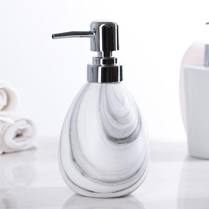 """Дозатор для жидкого мыла """"Кантри"""", цвет белый с серыми разводами"""