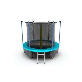 Батут EVO JUMP Internal 10 ft, d=305 см, с внутренней защитной сеткой и лестницей + нижняя сеть, морская волна