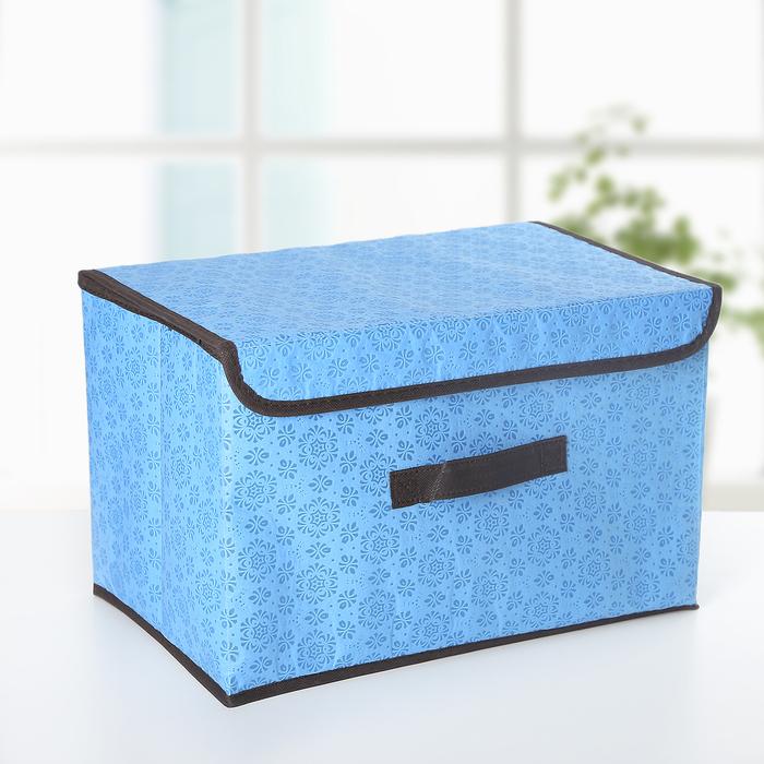 Короб для хранения с крышкой «Узор», 37×24×24 см, цвет голубой - фото 300139374