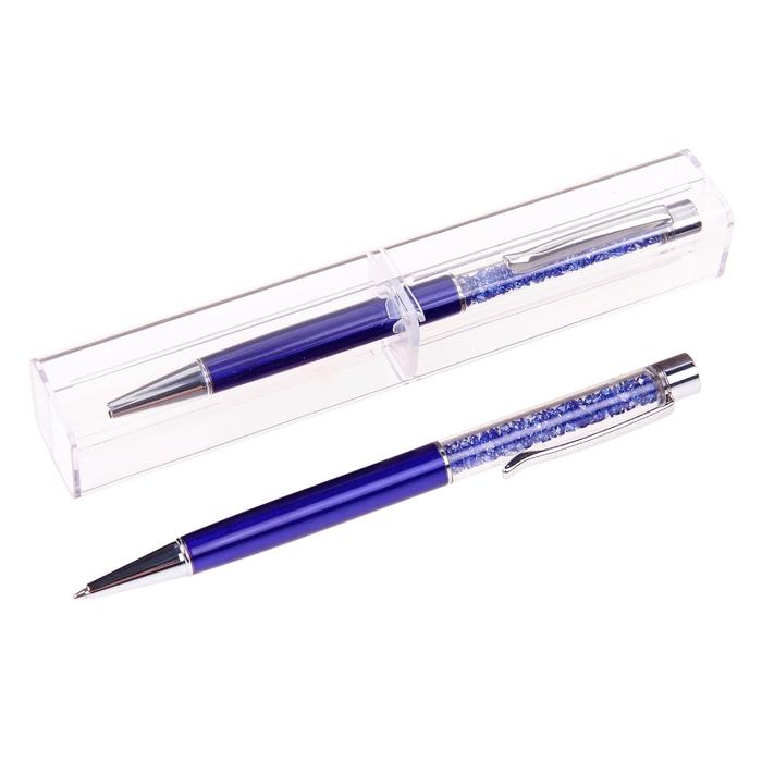 Ручка шариковая, подарочная, поворотная, в пластиковом футляре, «Стразы»