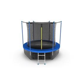 Батут EVO JUMP Internal 6 ft, d=183 см, с внутренней сеткой, нижней сеткой и лестницей, синий