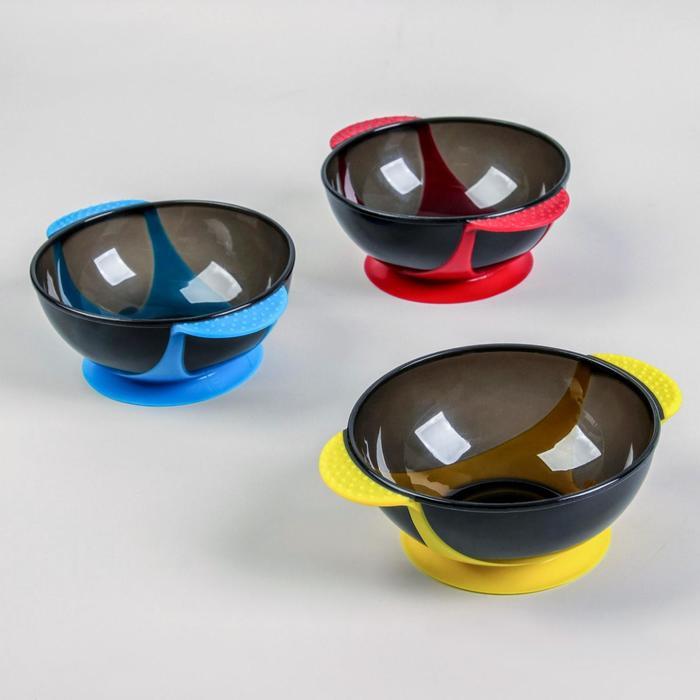 Чаша для окрашивания, с ручками, на присоске, d = 16 см, цвет МИКС