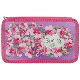 Пенал 2 секции «Весна», для девочки, 110х190 мм, ламинированный картон Ош