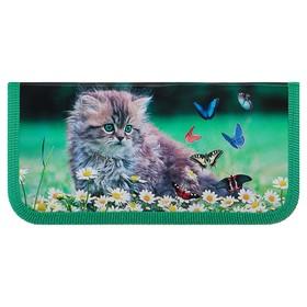 Пенал 1 секция, 90 х 190 мм, ламинированный картон, «Оникс», ПКК 02- 5, «Котёнок с бабочками»