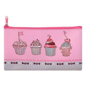 Пенал мягкий Sweet cake, для девочки, 1 отделение, плоский, 105х195 мм Ош