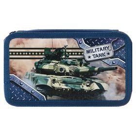 Пенал 2 секции «Танк милитари», для мальчика, 110х190 мм, ламинированный картон Ош
