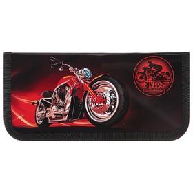 Пенал 1 секция «Байк красный», для мальчика, 90х190 мм, ламинированный картон Ош