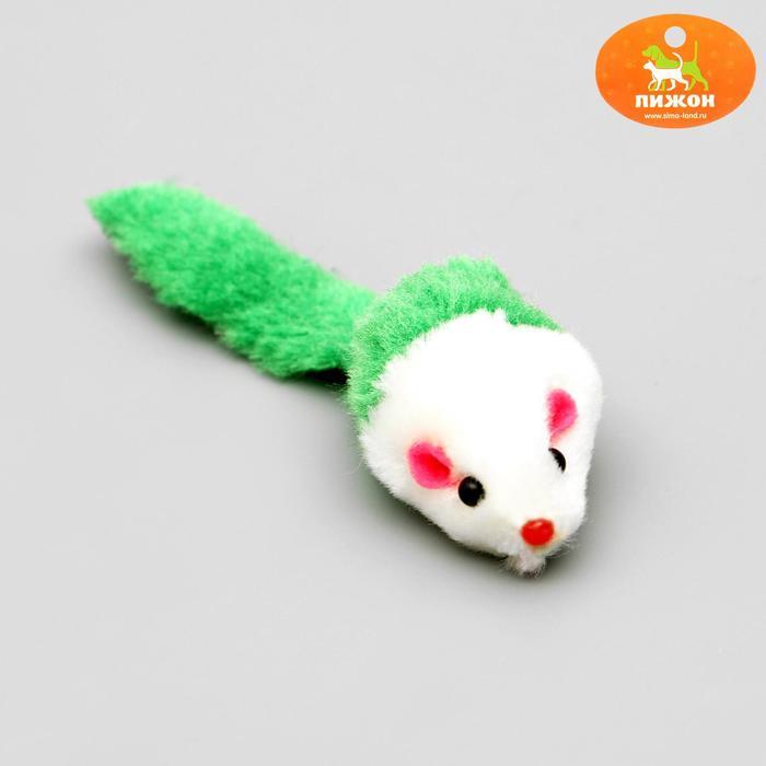 Игрушка для кошек Малая мышь двухцветная, микс цветов