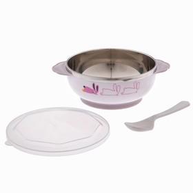 Набор детской посуды, 3 предмета: тарелка, 350 мл, ложка, крышка