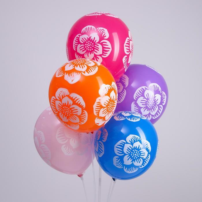 """Шар латексный 12"""" """"Большие цветы"""", набор 5 шт., цвета МИКС - фото 157488877"""