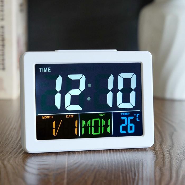 Часы-будильник электронные с календарем и термометром, белые, 13х10х4.5 см 3ааа