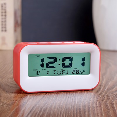 """Часы электронные """"Крета"""" с будильником, с термометром и календарём, 11х6х4,5 см, микс"""