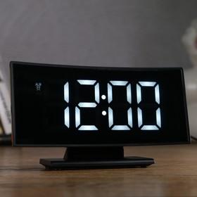 Часы-будильник электронные с календарем и термометром, белые цифры 17х9х4 см, USB. 3 AAA