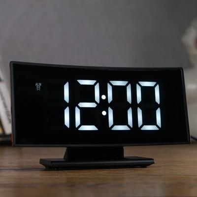 Часы-будильник электронные с календарем и термометром, белые цифры 17х9х4 см 3AAA