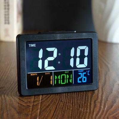 Часы-будильник электронные с календарем и термометром, чёрные, 13х10х4.5 см 3AAA