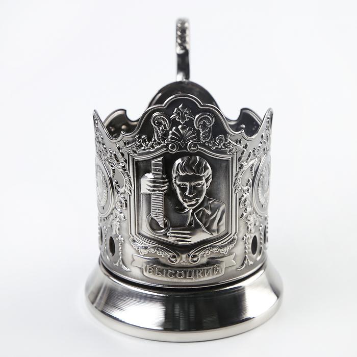 """Подстаканник """"Высоцкий"""", никелированный с чернью"""