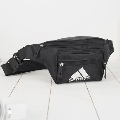 44d71329a8a0 Сумка поясная, отдел на молнии, 2 наружных кармана, регулируемый ремень,  цвет чёрный