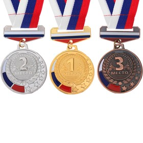 Prize medal with ribbon tricolor 162 diam 5 cm, bronze
