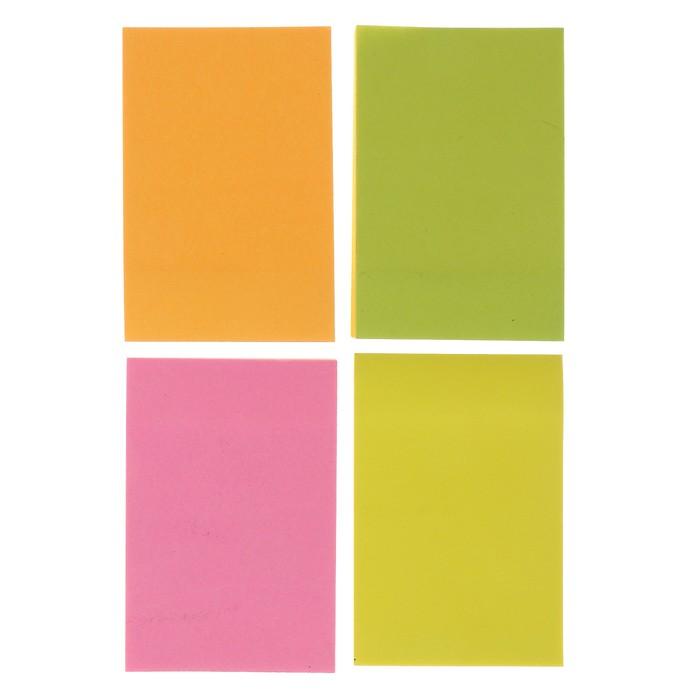 Блок с липким краем,100 листов, 5 цветов, флюоресцентный, микс