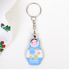 "Wooden keychain nesting doll ""Delicate flowers"", 2.7 x 5 cm"