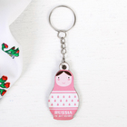 "Wooden keychain nesting doll ""Pink geometry"", 2.7 x 5 cm"
