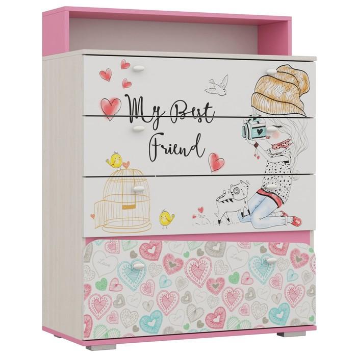 Комод для детской Алиса 1170х900х420 Белый/корпус Ясень Анкор Белый/ Розовый