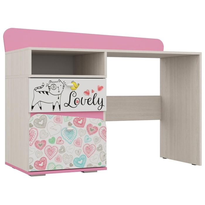 Стол для детской Алиса 920х1200х520 Белый/ корпус Ясень Анкор Белый/ Розовый