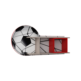 Полка навесная П-34 Футбол 600х1200х220 Серый/Красный/Ясень Шимо Светлый/ Красный Ош