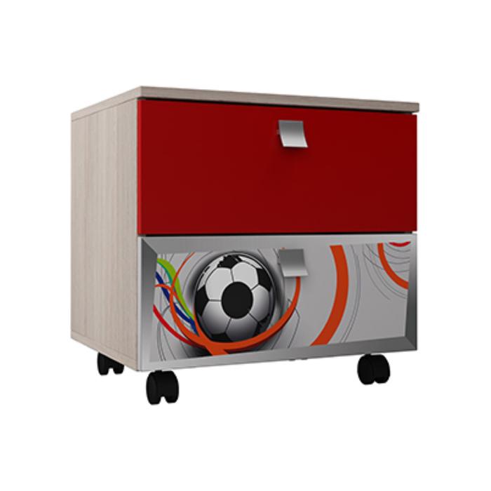 Тумба прикроватная ТП-22 Футбол 485х500х420 Серый/Красный/Ясень Шимо Светлый/ Красный