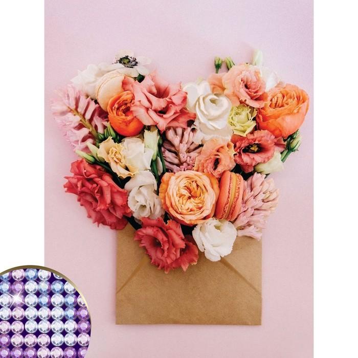 """Алмазная вышивка с частичным заполнением """"Цветы"""" 30*40 см, холст, емкость"""