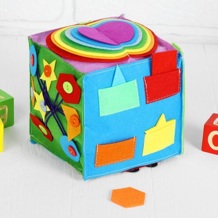 Мягкий бизикубик «Изучаем цвета и формы» текстильный, 15×15 см