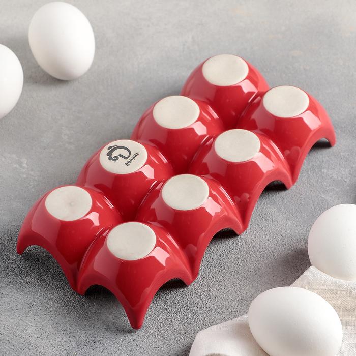 """Подставка для яиц 20х9,5х4,5 см """"Акцент"""", цвет красный"""