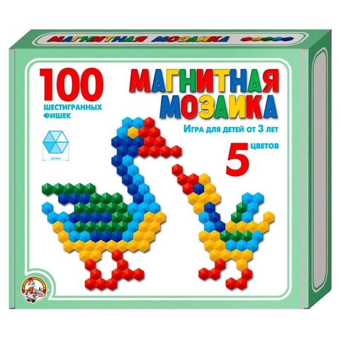 Мозаика магнитная шестигранная, 5 цветов, 100 элементов - фото 697015