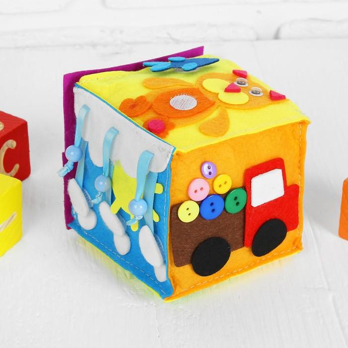 Мягкий бизикубик «Веселые игрушки» текстильный, 10×10 см