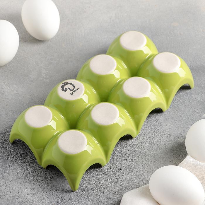"""Подставка для яиц 20х9,5х4,5 см """"Акцент"""", цвет зелёный"""