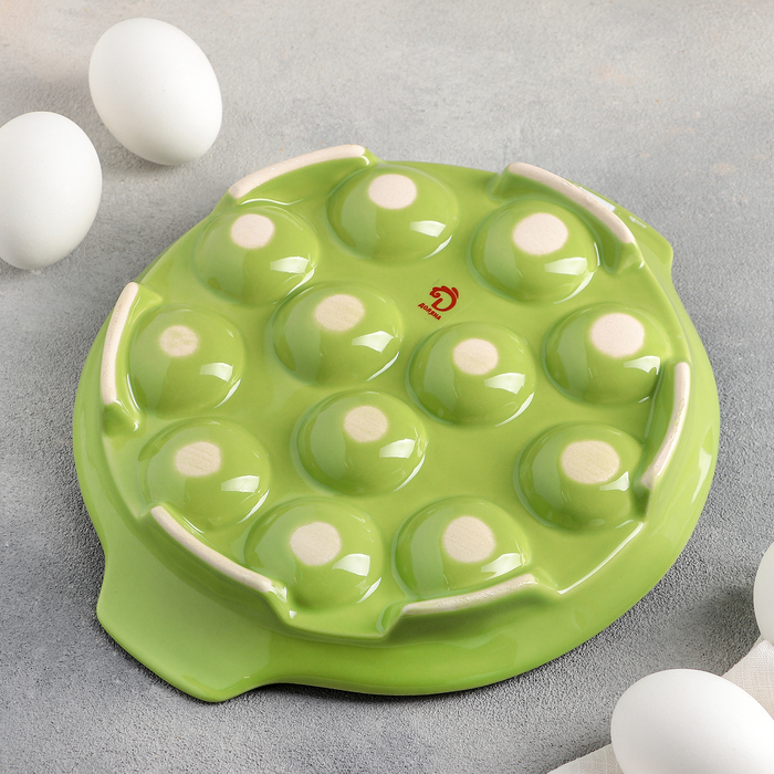 """Подставка для яиц 22х4 см """"Фарбе"""", цвет зелёный"""
