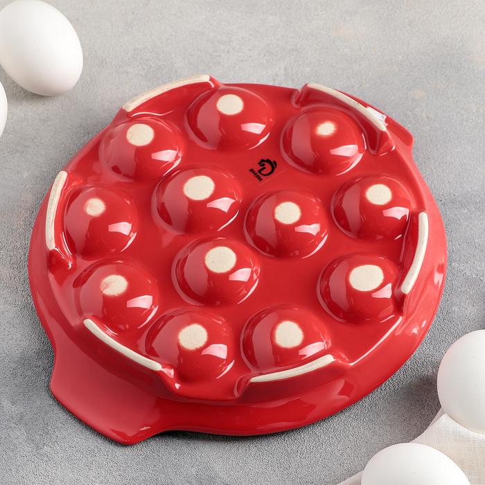 "Подставка для яиц 22х4 см ""Фарбе"", цвет красный"