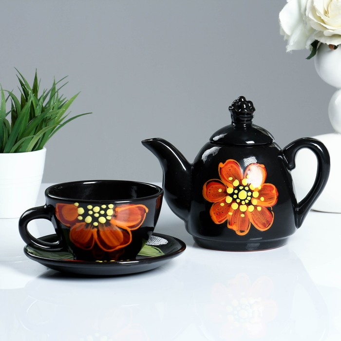 """Чайный комплект """"Дуэт цветы"""" №1(БК)"""