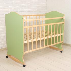 Детская кроватка «Морозко» на колёсах или качалке, цвет зелёный