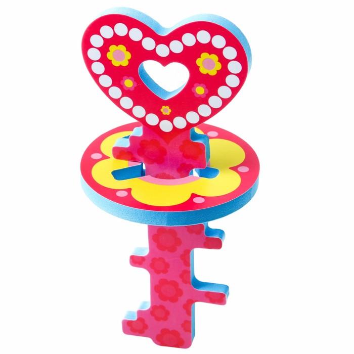 Головоломка для игры в ванне «Ключик и цветочек» , цвет розовый