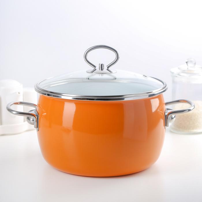 Кастрюля сферическая 4 л Caliente, цвет оранжевый